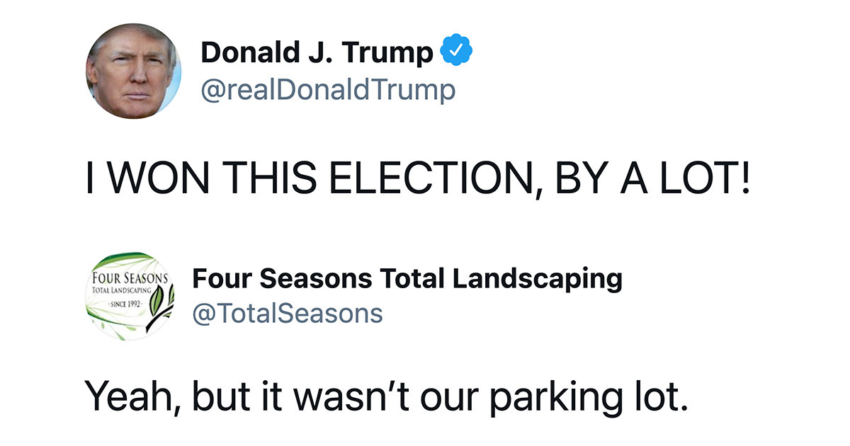 'Four Seasons Total Landscaping' Parody Account Continues To Roast Donald Trump Weeks After His Accidental Rally
