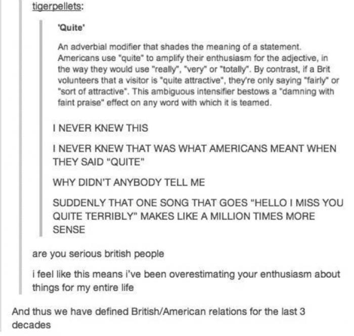 14. British/American relations demystified…