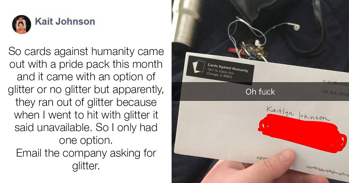 Customer Complains To Cards Against Humanity That Her Game Didn't Come With Glitter So They Delivered Her Instant Regret