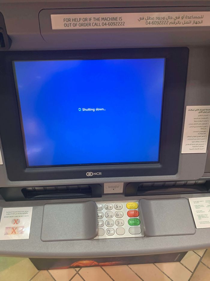 The ATM  shuts down with the card still inside