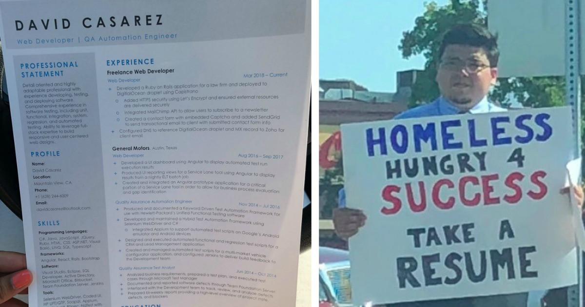 Homeless Web Developer Hands Out Resumes Instead of Asking For Money and Receives Over 200 Job Offers