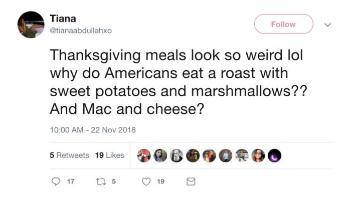 Thanksgiving meals sound great. weird but great.