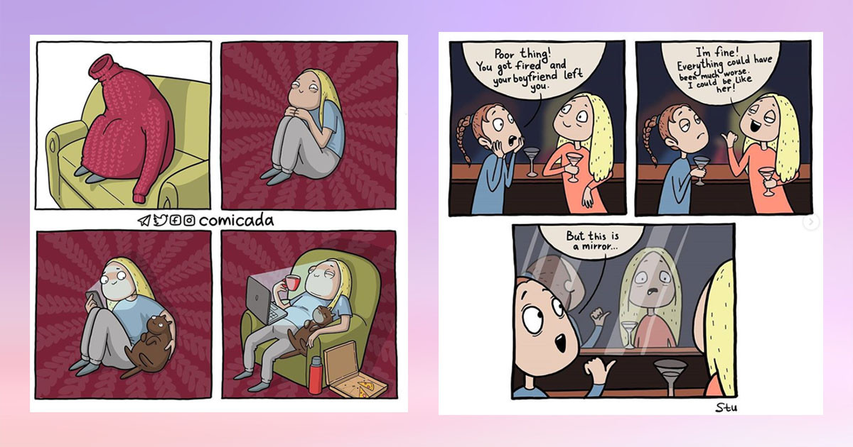 Russian Artist @comicada Creates Hilarious Little Comics In Unique Art Style