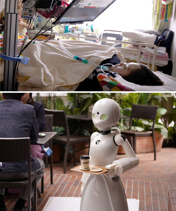 18. In this café, paralyzed people are controlling robot servers. it's a good way to enable them to make an income