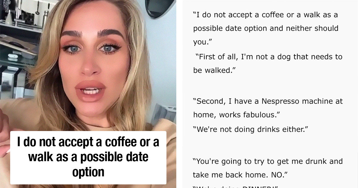 Influencer Mocked By Internet Because She Stated That Coffee Or Walks Are Unacceptable First Date Options