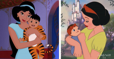 Classic Disney Princesses Get Modern Mom Makeovers We're Gushing Over