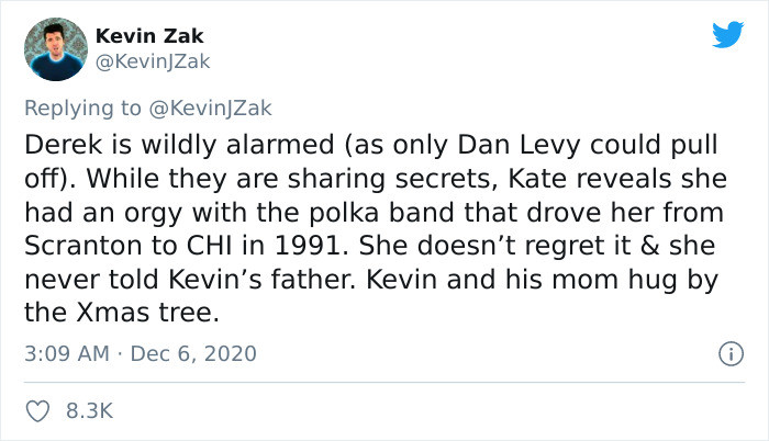 And, in a strange twist, Kate reveals that she had an orgy with the polka band that she hitched a ride with in the first movie. Oh my!