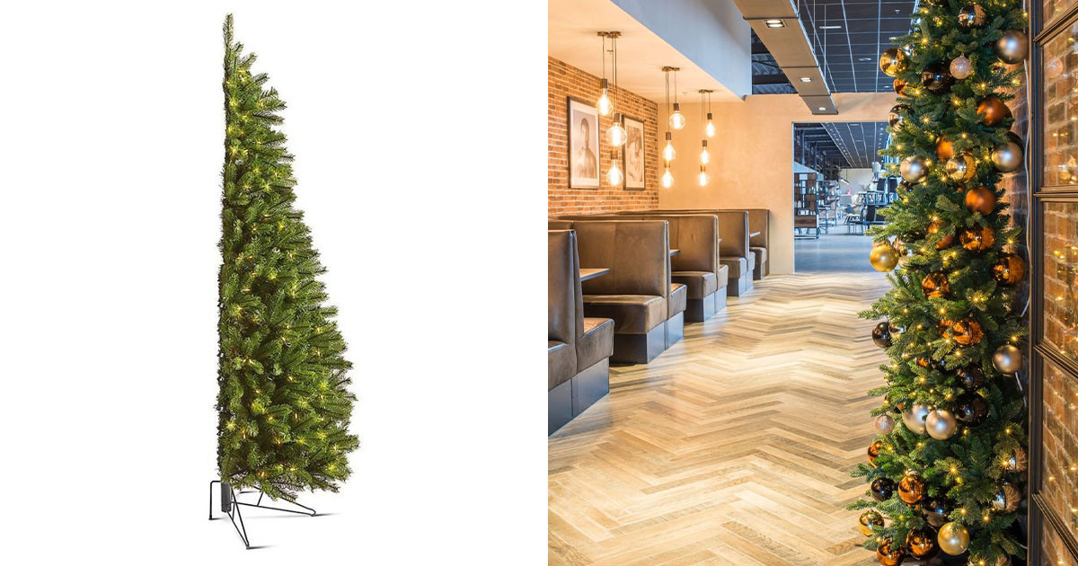 Unique Kind Of Half-Christmas Tree Will Fit In Any Small Space And Still Look Festive