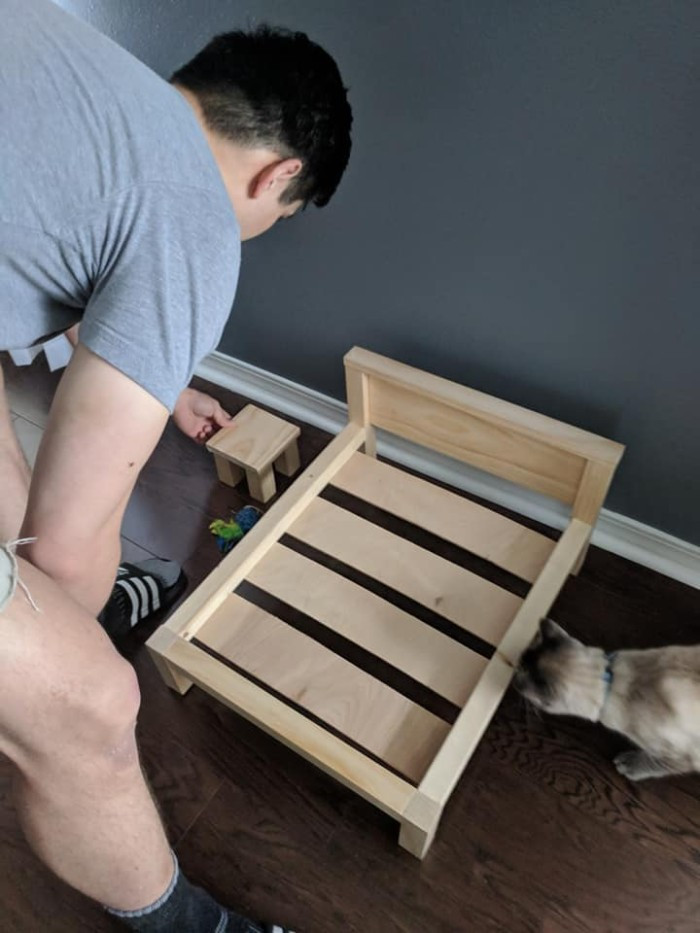 When he first started to make the bed frame his wife thought it was for them and their new mattress!