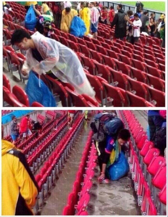 38. Japan's soccer fans cleaning up their sections after their match vs. Ivory Coast.
